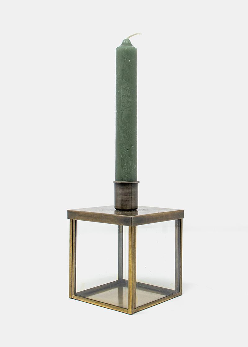 Kerzenhalter Würfel mit Goldrand_1